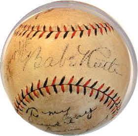 cb2c3aae86b Babe Ruth Lou Gehrig Autographed Baseball