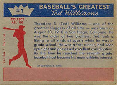 1959 Fleer Ted Williams Baseball Cards
