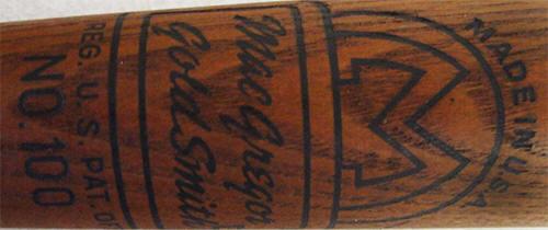 100 Baseball Bat Early 1944 1952 Logo