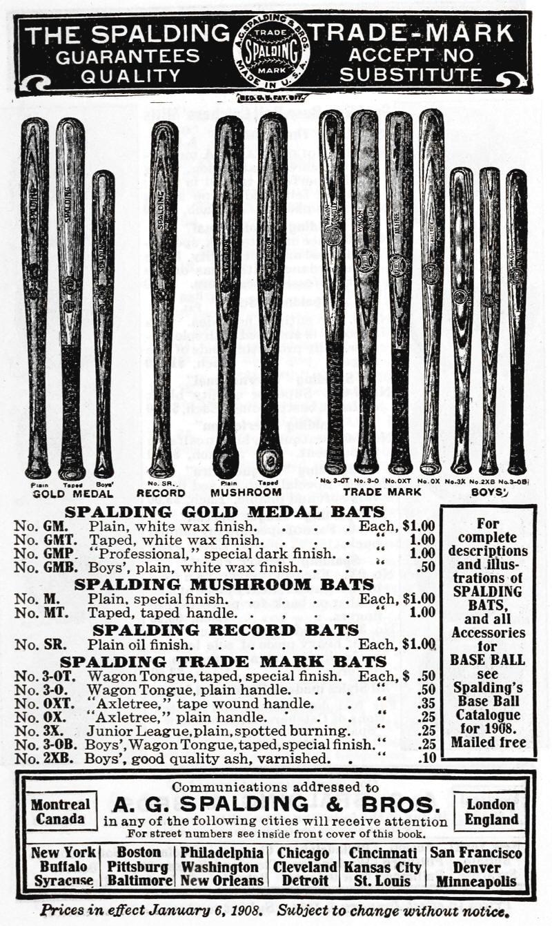 Spalding baseball bat dating