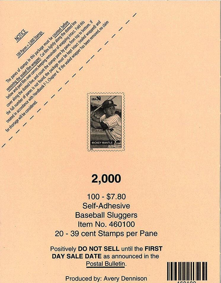 2006 USPS Baseball Sluggers Mickey Mantle Cover Sheet
