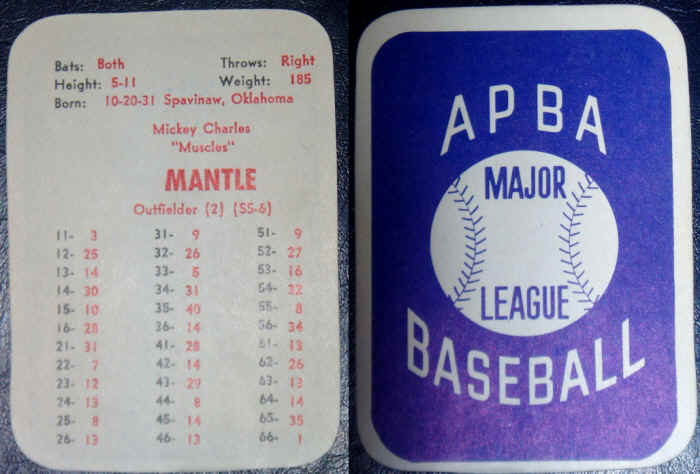 Vintage Baseball Memorabilia Mickey Mantle Apba Card