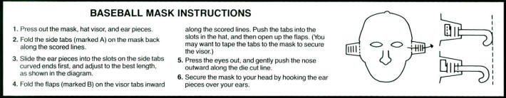 Baseball Mask Instructions