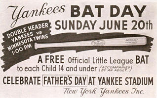 June 20, 1965 Yankee Stadium  First Bat Day