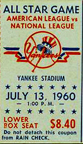 1960 All-Star 2nd Game Stub July 13