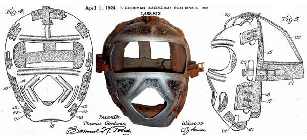 1924 Light Metal one piece frame Catchers Mask & Patent