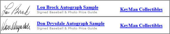 Autograph Samples and Price Guide