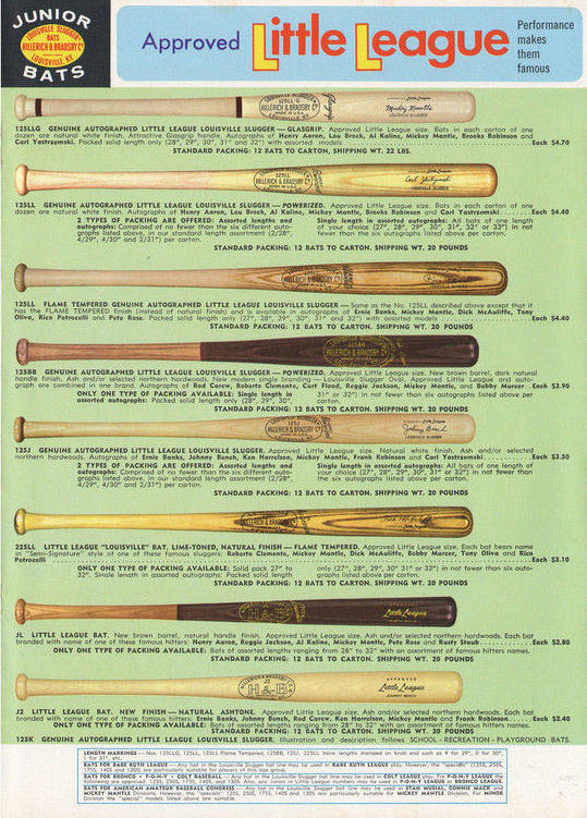 1970 Louisville Slugger Little Leaguue Bats