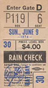 1974 Shea Stadium Yankees Bat Dat ticket stub
