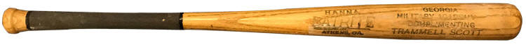 Trammell Scott - Southern Association League President Georgia Military Academy Baseball Bat