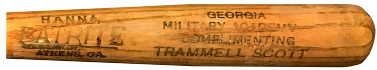 Trammell Scott - Southern Association League President Georgia Military Academy Mini Baseball Bat