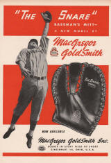 1947 Macgregor Goldsmith The Sare Baseball Mitt ad
