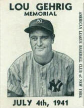 Lou Gehrig Memorial Game Ticket July 4th, 1941 Rainout