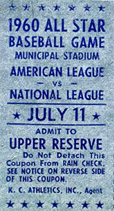 1961 All-Star 1st Game Stub July 11