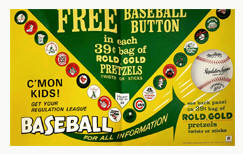 1968 Rold Gold ADV Premium Sales Free baseball Button Offer