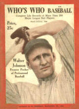 1924 Who's Who in Baseball Walter Johnson cover