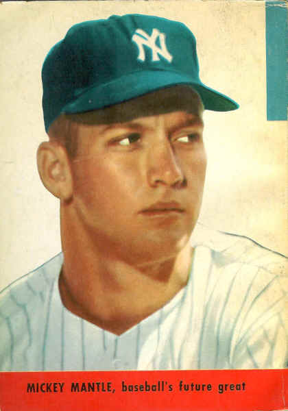 young baby faced mickey mantle with the caption baseballs future great like most baseball books the stats are from the previous year 1952