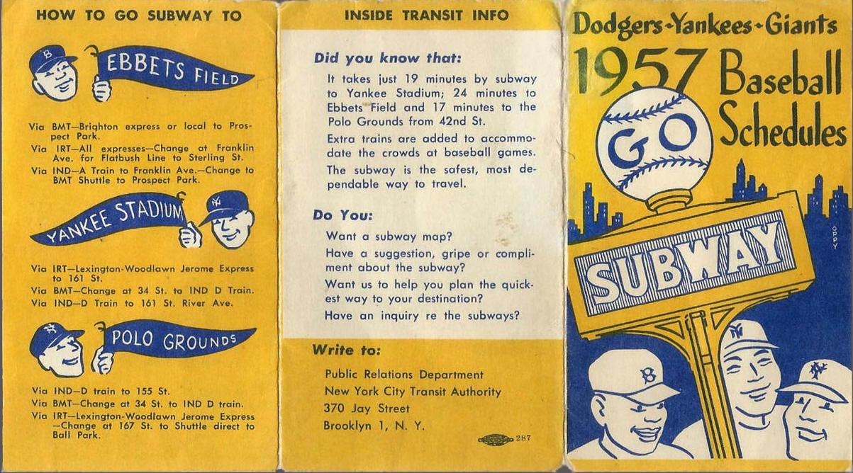 Subway Map Baseball.1957 Dodgers Yankees Giants