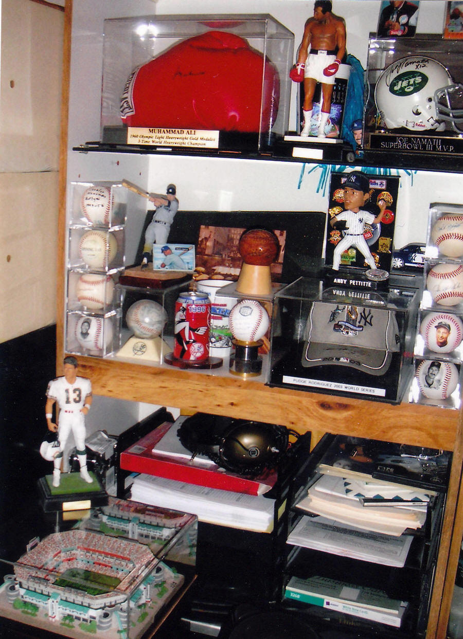 Baseball Collectibles Display Room Yankees Memorabilia Collection