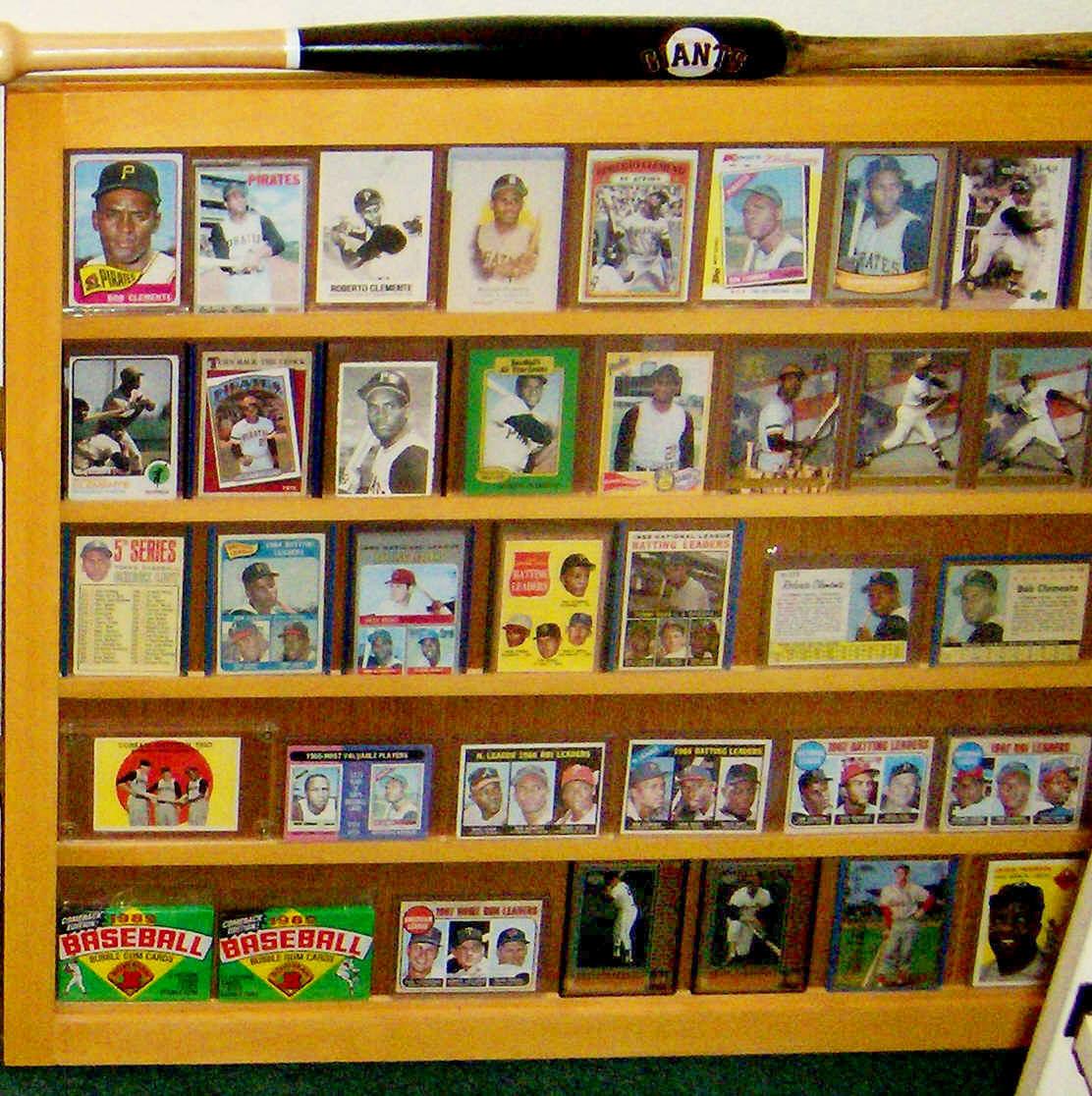Roberto Clemente Baseball Card Collectiion Display