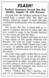 Yankees announce second bat day Aug. 13, 1972