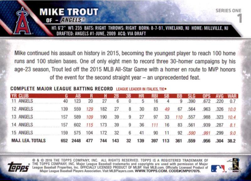 2016 Topps Baseball Cards