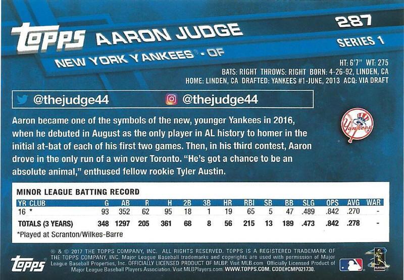 2017 Topps Baseball Cards