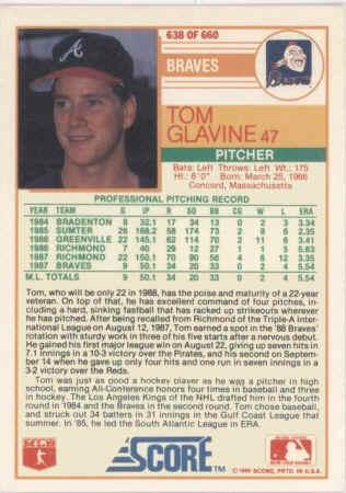 1988 Score Baseball Cards