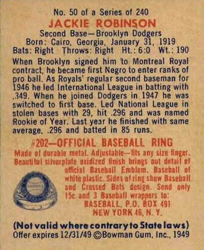 1949 Bowman Baseball Cards Checklist