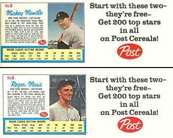 1962 Post Baseball Cards Checklist