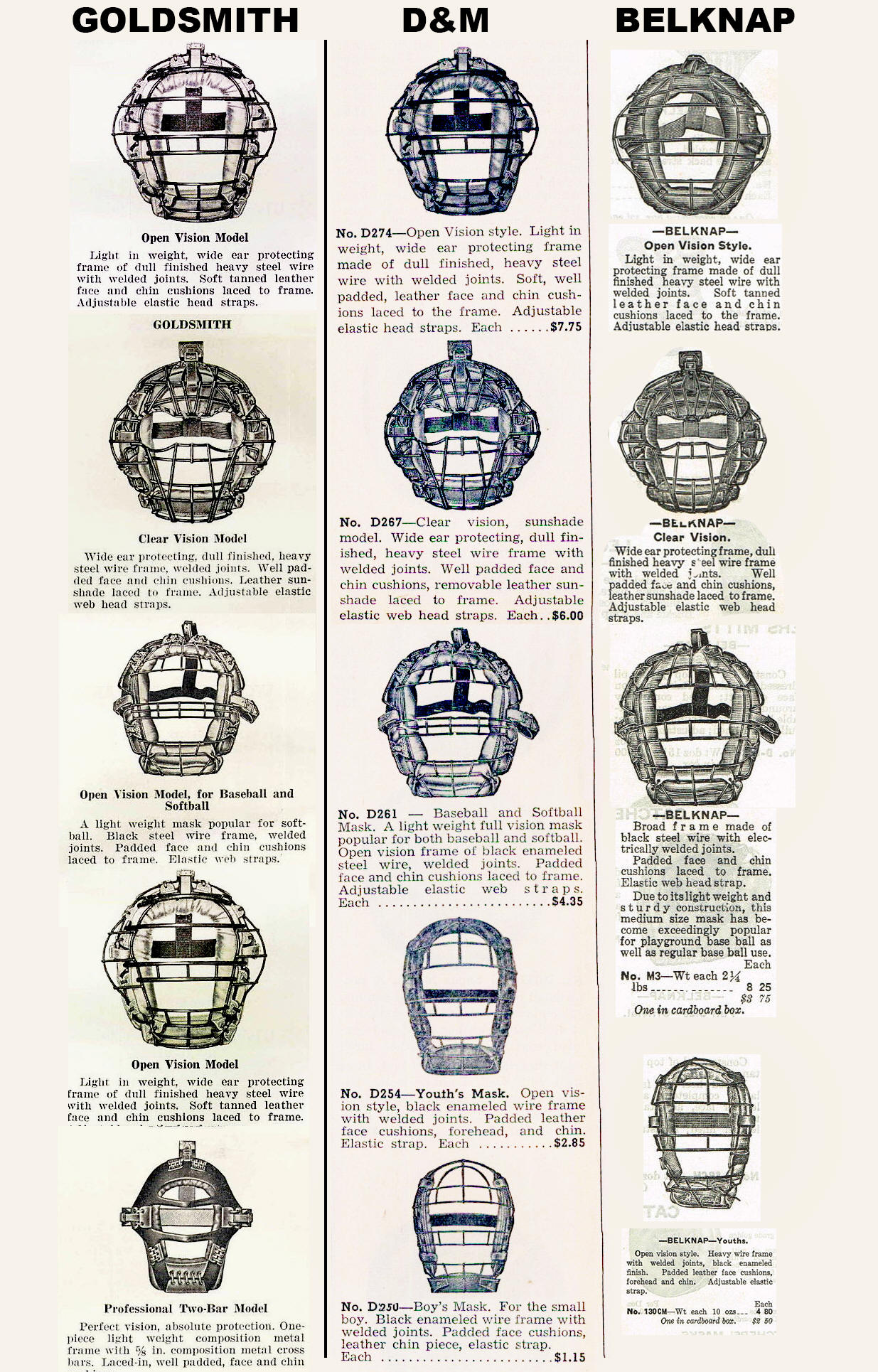 1940-1949 Catchers Mask Dating Guide