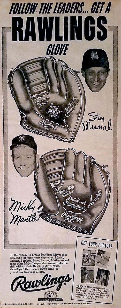 Details about  /1950s Advertising Pamphlet sporting goods Rawlings baseball glove Stan Musial